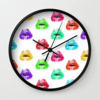 lip Wall Clocks featuring Lip Print by Vicky Ink.