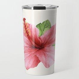 Tropical Pink Hibiscus Flower Travel Mug