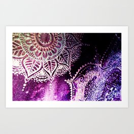 Henna Mehndi Mandalas Magenta Purple Art Print