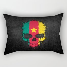 Flag of Cameroon on a Chaotic Splatter Skull Rectangular Pillow