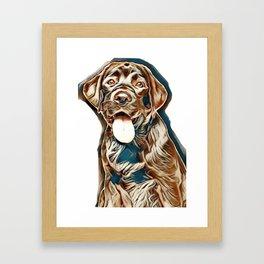 Portrait of Black Labrador puppy on white background. Animal theme        - Image Framed Art Print