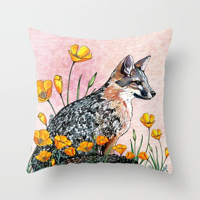 Channel Island Fox (Sunset Sky) Throw Pillow