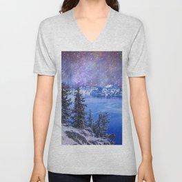 Night Sky Blue Lake Unisex V-Neck