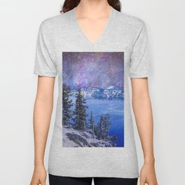 Crater Lake Starry Night Unisex V-Neck