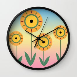 Pineapple Flowers Wall Clock