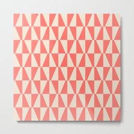 Mid Century Modern Geometric 312 Coral and Beige Metal Print