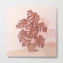 Tropical Plant. Monstera (Pink and plum shades) Metal Print