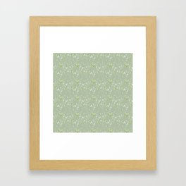 Mint green watercolor hand painted floral leaves Framed Art Print