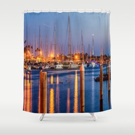 Marina Del Rey Harbor At Night Shower Curtain