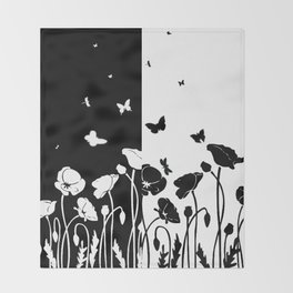 POPPIES AND BUTTERFLIES Throw Blanket