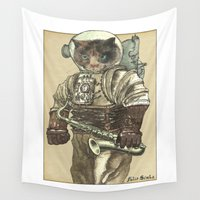 saxophone Wall Tapestries featuring Space Cat with Saxophone by Felis Simha