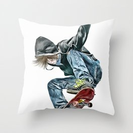 Skateboarder Throw Pillow