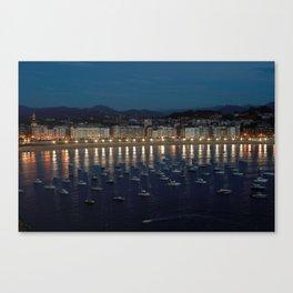 Night view of Donostia-San Sebastian. Spain. Canvas Print