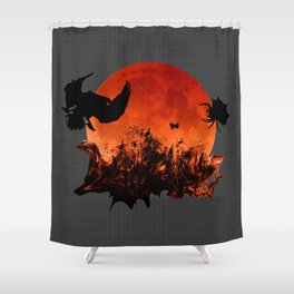 Spooky Halloween Blood Moon Screaming Birds And Spider Shower Curtain