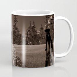B&W Sunrise Backcountry Ski // Black and White Skin Track to Snowy Paradise Coffee Mug