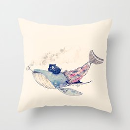 Pirate Whale Throw Pillow