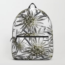 Mum Floral Pattern - Mum's the word - Black and White Floral Design - White Mum Flowers - I Love my Backpack