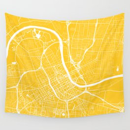 Nashville, Tennessee, City Map - Yellow Wall Tapestry