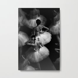 Ballerinas getting ready for the big performance black and white photograph - photographs Metal Print