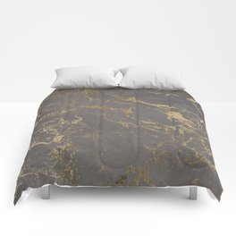 Modern Grey cement concrete gold marble pattern Comforters