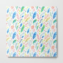 Bright Colorful Boho Floral Pattern Metal Print