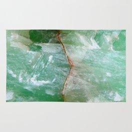 Crystalized Pale Green Quartz Slab with Copper Vein Rug