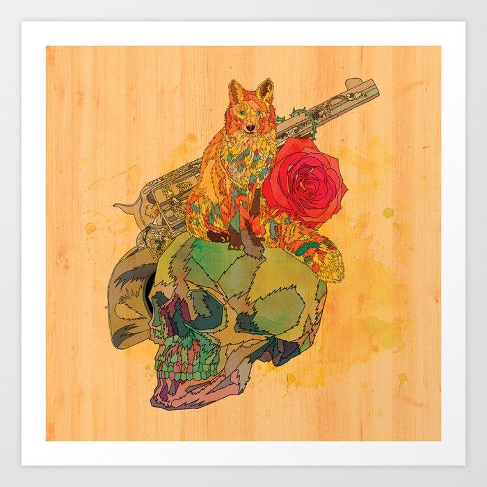Fox & Rose Art Print