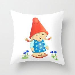 garden gnome little Girl Throw Pillow