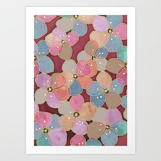 It's Always Summer Somewhere - translucent poppy doodle Art Print