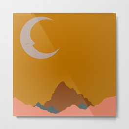 Mountain Moon Abstract Gold Nature Night Celestial Sky Canyon Moon Sunset Metal Print