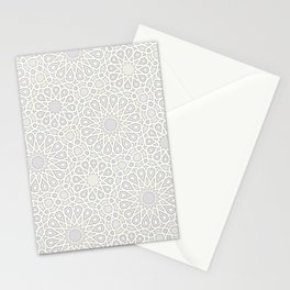 White Moroccan Tiles Pattern Stationery Cards