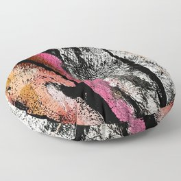 Motivation [2] : a colorful, vibrant abstract piece in pink red, gold, black and white Floor Pillow
