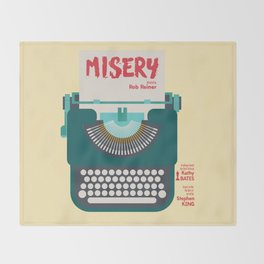 Misery, Horror, Movie Illustration, Stephen King, Kathy Bates, Rob Reiner, Classic book, cover Throw Blanket