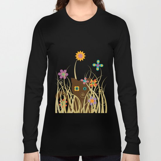 Whimsical Blooming Flowers and Brown Kitty Cat Long Sleeve T-shirt