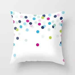 CUTE CONFETTI SPOTS - bright colorful - pink, aqua blue, mint, navy Throw Pillow