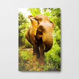 African Savanna Elephant | Watercolor Painting Metal Print