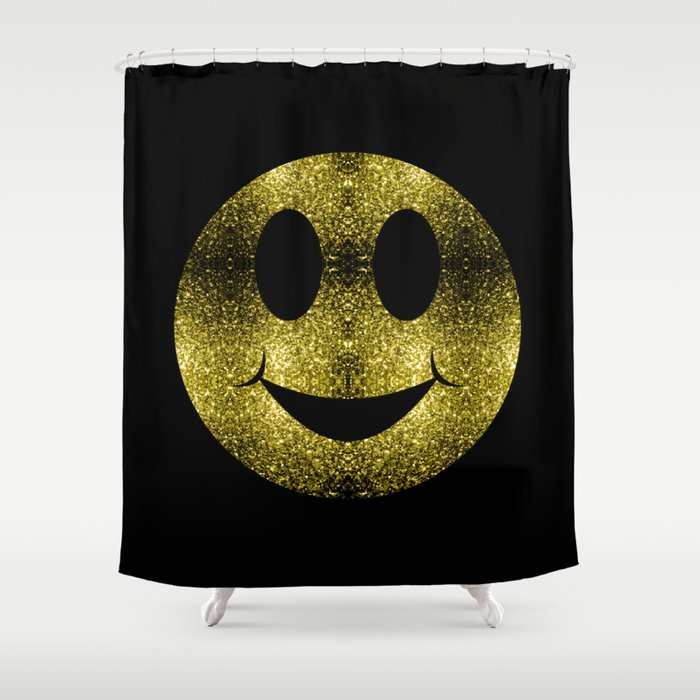 Sparkly Smiley Yellow Gold sparkles Shower Curtain
