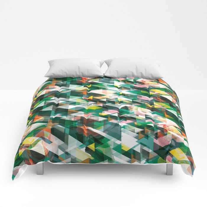 Roses and Triangles Comforters