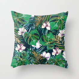 Tropical forest green lilac gold monster leaves floral Throw Pillow