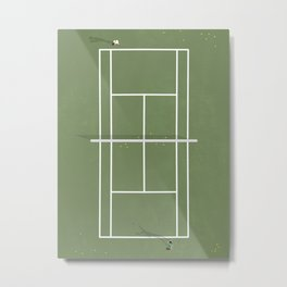 Tennis Court From Above | Illustration  Metal Print