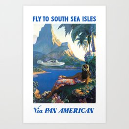 1940 FLY TO THE SOUTH SEA ISLES Via Pan American Airlines Travel Poster Art Print