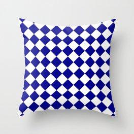 Diamonds - White and Dark Blue Throw Pillow
