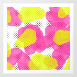 Sarah's Flowers - Abstract Watercolor on Polka Dots Art Print
