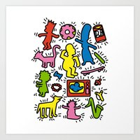simpsons Art Prints featuring Haring - Simpsons by Krikoui