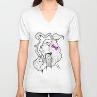 bow V-neck T-shirts featuring BOW by Chris Kies