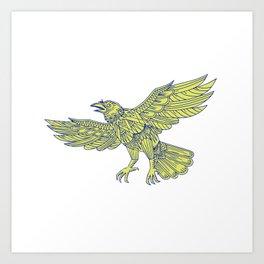 Common Raven Flying Mandala Art Print
