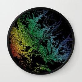 La Paz, Bolivia, City, Map, Rainbow, Map, Art, Print Wall Clock