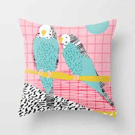 Hottie - throwback retro 1980s 80s style memphis dots bird art neon cool hipster college dorm art Throw Pillow