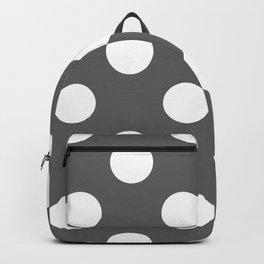 Large Polka Dots - White on Dark Gray Backpack