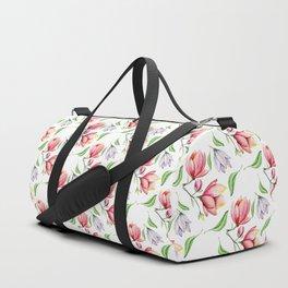 Elegant modern hand painted pink lilac watercolor magnolia floral Duffle Bag